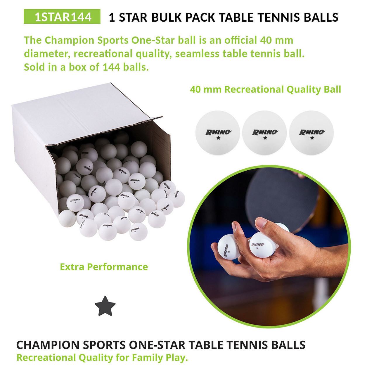 Champion Sports 1 Star Table Tennis Balls - 1 Gross