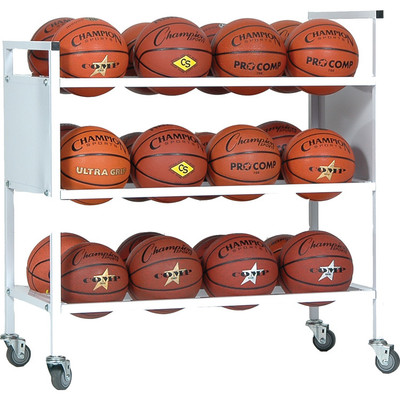 Champion Sports 24 Basketball Double Wide Ball Cart