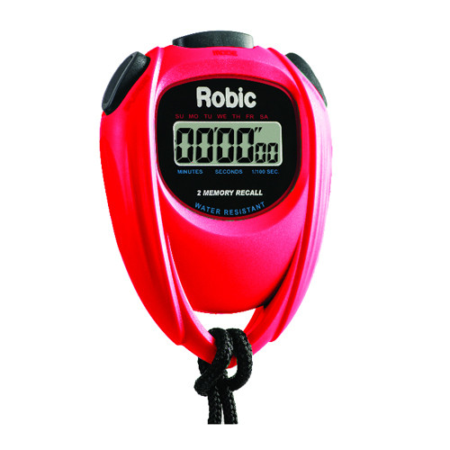 Robic SC-429 Water Resistant 2 Memory Stopwatch Red