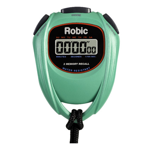 Robic SC-429 Water Resistant 2 Memory Stopwatch Green