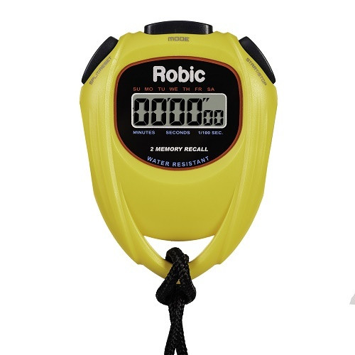 Robic SC-429 Water Resistant 2 Memory Stopwatch Yellow