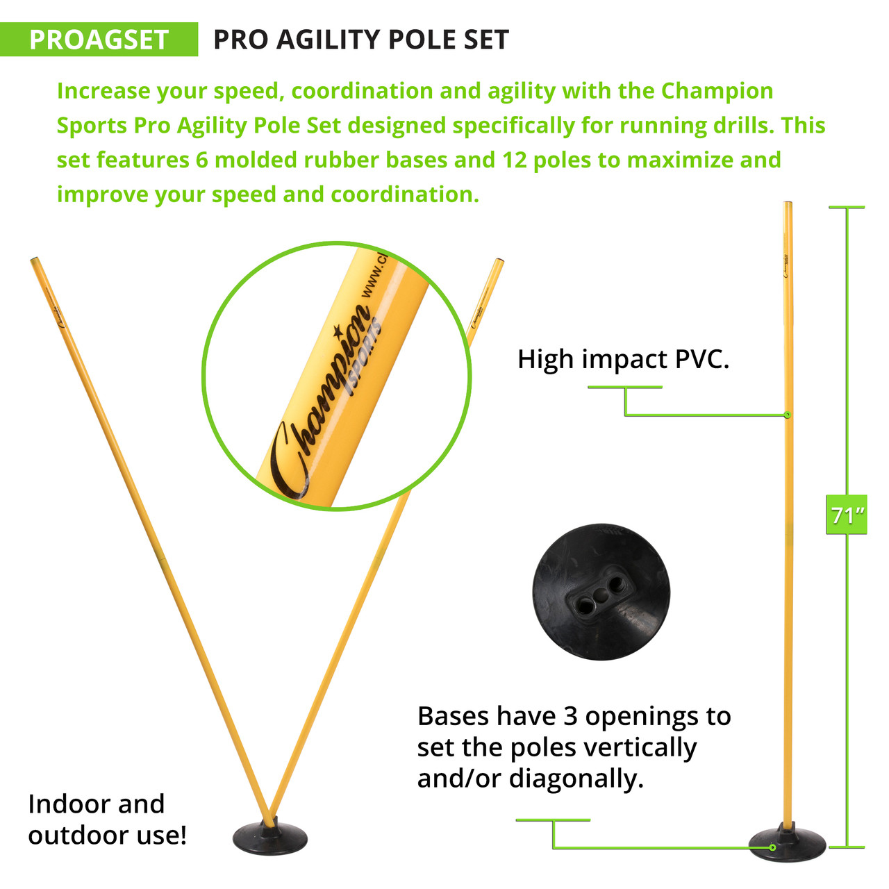 Champion Sports Pro Agility Pole Set (PROAGSET)