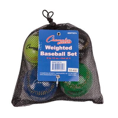 Champion Sports Weighted Training Baseball Set of 4 (BBWTSET4)