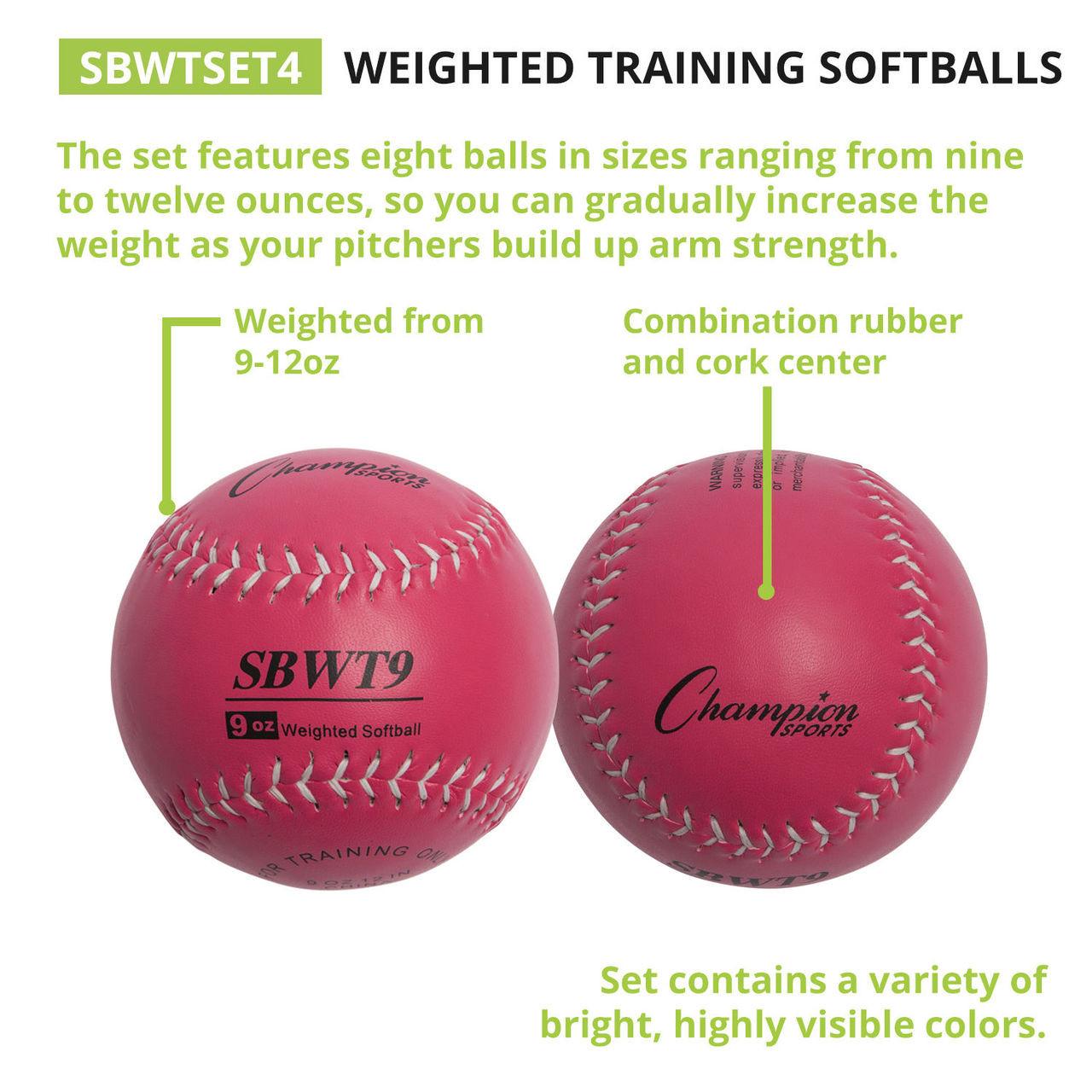 Champion Sports Weighted Training Softball Set of 4 (SBWTSET4)