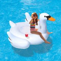 "Elegant Giant Swan 73"" Inflatable Ride-On Pool Float"