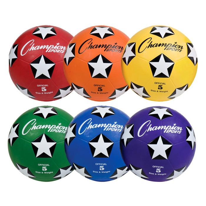 Champion Sports Rubber Rainbow Soccer Ball Set