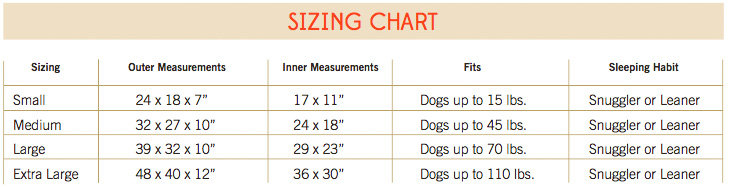 Jax and Bones Lounge Bed Size Guide