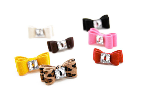 Crystal Button Ultrasuede Hair Bows