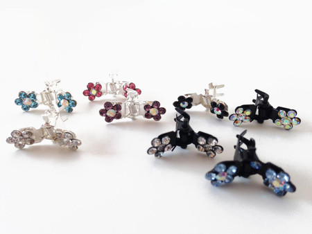 Flower Rhinestone Dog Hair Clips