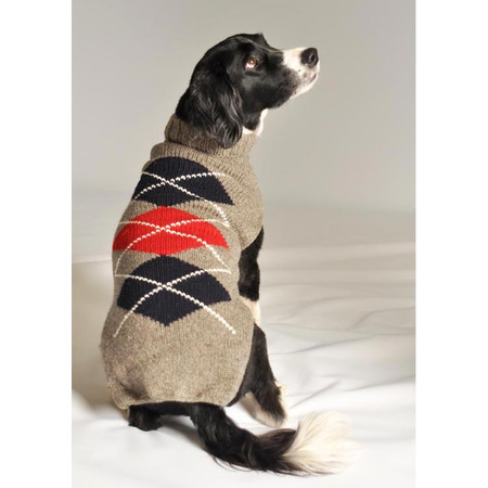 Grey Argyle Dog Sweater