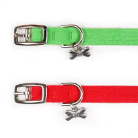 Susan Lanci Holiday Plain Ultrasuede Dog Collars