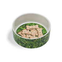 Grass + Biscuits Ceramic Dog Bowl