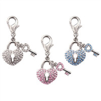 Pave Key to My Heart D-Ring Charms