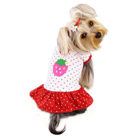 Strawberry Polka Dots Dog Dress