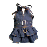 V-Neck Denim Dog Dress
