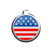 Stars & Stripes Stainless Steel Enamel ID Tag