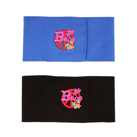 Susan Lanci Peace Symbol Wizzer Bellybands in Royal Blue and Black