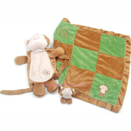 Oscar Newman Sleep Over Monkey Blanket and Toy Set