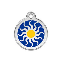 Tribal Sun Stainless Steel Enamel ID Tag
