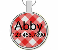 Red Picnic Plaid Silver Pet ID Tags