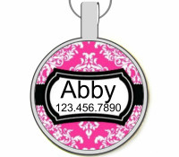 Pink Damask Silver Pet ID Tags