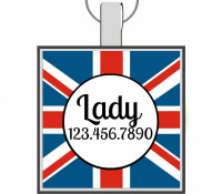 Union Jack Silver Pet ID Tags