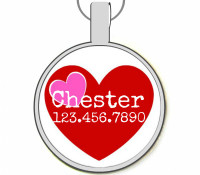 Pink and Red Hearts Silver Pet ID Tags