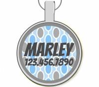 Retro Blue Dots Silver Pet ID Tags