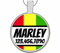 Rasta Stripes Silver Pet ID Tags