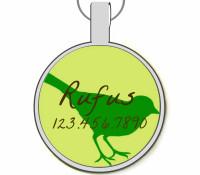 Green Bird Silver Pet ID Tags