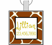 Giraffe Silver Pet ID Tags