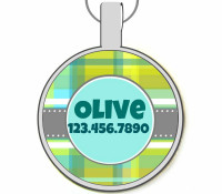 Blue and Green Plaid Silver Pet ID Tags