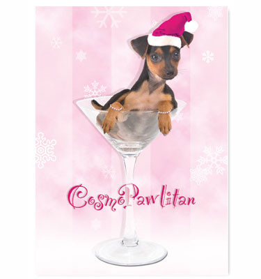 Puppy Cosmopawlitan Holiday Card