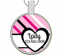 Heart and Stripes Silver Pet ID Tags
