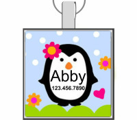 Happy Penguins Silver Pet ID Tags