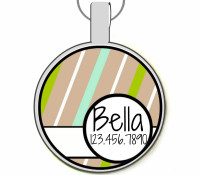 Tan Stripes Silver Pet ID Tags