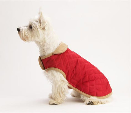 Dog Gone Smart Nanosuede Quilted Dog Jacket in Red