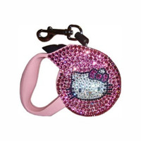 Hello Kit Kat Swarovski Crystal Retractable Lead (Pink)