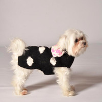 Black Polka Dot Flower Sweater