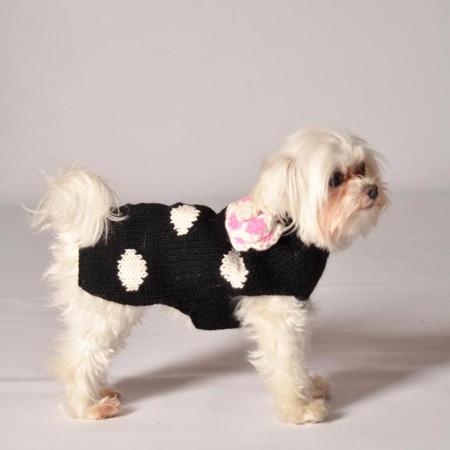Black Polka Dot Flower Sweater