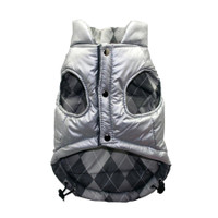 Silver Argyle Reversible Puffer Vest