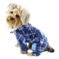 Blue Argyle Turtleneck Fleece Dog Pajamas