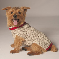 Oatmeal & Red Cableknit Dog Sweater