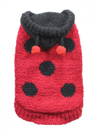 Chenille Lady Bug Sweater Hoodie