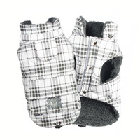 White Plaid Shearling Puffer Vest