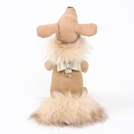 Susan Lanci Camel Ivory Fox Faux Fur Coat