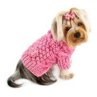Pink Bobble Stitch Turtleneck Dog Sweater