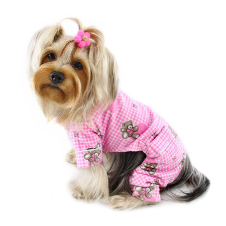 Adorable Pink Teddy Bear Love Flannel Pajamas