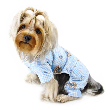 Adorable Blue Teddy Bear Love Flannel Pajamas