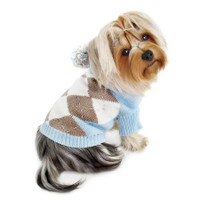 Blue Argyle Pattern Hoodie Dog Sweater